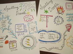 Spelling Doodle-- fun way to practice weekly spelling words, could adapt for content area vocabulary too