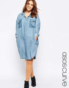 ASOS CURVE | Oversized Chuck On Shirt Dress #AsosCurve #shirt #dress