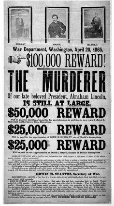 John Wilkes Booth Reward Poster for the assassination of President Abraham Lincoln