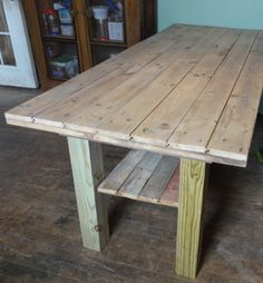 The table I made for my kitchen all assembled! Top is removable as is the shelf, which has stoppers on each end outside the stretcher. Old Barn Wood, House Renovations, New Kitchen, Shelf, Dining Table, Decorations, Top, Furniture, Home Decor