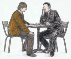 Brian Epstein and John Lennon playing chess by gagambo.deviantart.com on @DeviantArt