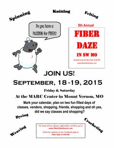 Fiber Daze 2015 Flyer Types Of Fibres, Vernon, Fiber, How To Plan, Fun, Low Fiber Foods, Hilarious
