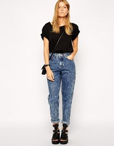 ASOS Original Rigid Mom Jeans in Argentina Acid Wash