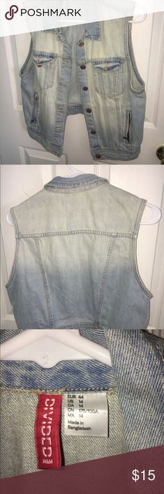 H&M Light Jean Vest Cute and short jean vest! Perfect for dresses in the summer time. Size 14 but fits like a 12, worn only a handful of times H&M Jackets & Coats Vests