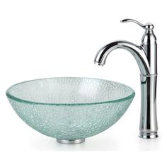 Kraus C-GV-500-14-12mm-1005 Broken Glass Vessel Rivera Faucet Combo Bathroom Sink  Kraus Mosaic Glass 14 inch Vessel Sink and Riviera Faucet	Add a touch