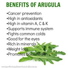 Arugula is high in antioxidants, phytonutrients and an excellent source of fiber! #arugula #healthy #health #benefits #vwellhealth