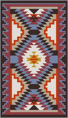 Pookers Rock Cross Stitch design taken from a vintage Navajo rug Cross Stitch Borders, Cross Stitch Designs, Cross Stitching, Cross Stitch Patterns, Hand Embroidery Patterns, Diy Embroidery, Cross Stitch Embroidery, Crochet Quilt, Tapestry Crochet