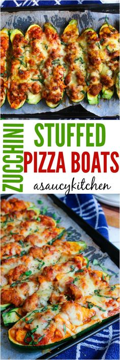 Zucchini Pizza Boats www.asaucykitchen.com Used pizza sauce and sautéed the veggies. Really good.