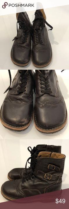 Pepe Brown Prairie Boots Size 35 (US 3.5) I absolutely adore these prairie boots. These must be my daughter's 4th or 5th pair of this style. These boots do show wear, particularly on the leather, but overall they are still in very good condition. The structure of the boot is excellent and nothing is broken (except it can use new laces). Pepe boots last forever, and these were worn for only a shot period due to a growth spurt! Size Euro 35 US 3.5. Pepe Shoes Boots