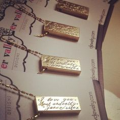 A beautiful custom piece with room for a name or quote!  Gold Bar Necklace by River Valley Designs | Hatch.co