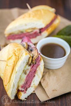The French Dip Pastrami Sandwich - hot, juicy, cheesy, mushroomy, loaded with tender pastrami in a toasted hoagie roll and all dipped in a fabulous au jus.