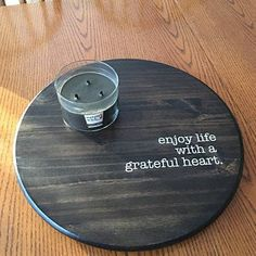 sylvia added a photo of their purchase Wooden Crafts, Recycled Crafts, Diy Lazy Susan, Round Wood Tray, Etsy Co, Picture Hangers, Reno, Stain Colors, House Warming