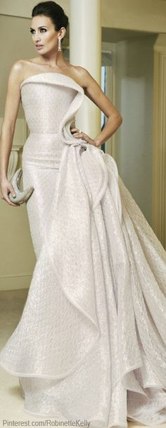 ARMANI PRIVE | Haute Couture glam ivory gown #Luxurydotcom