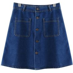 Chicnova Fashion Denim Mini Skirt (14 PAB) ❤ liked on Polyvore