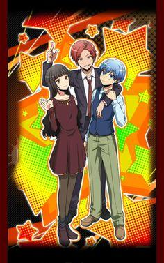 Ansatsu Kyoushitsu/Assassination Classroom, Mobile game card, Kayano Kaede, Akabane Karma, and Shiota Nagisa