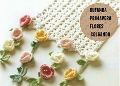 patron bufanda florecillas colgando crochet