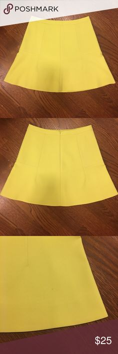 "Neon yellow J Crew flair skirt 💕🍩 J Crew size 4 neon yellow flair skirt!! Waist 15"" and length 17"". Worn by me, a few times!! One teeny dot on back of skirt (see pix, I'm sure will come out with dry cleaning!!)💕🍩 J. Crew Skirts Mini"