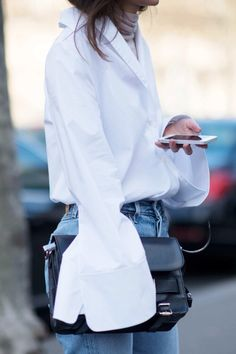 white shirt + denim + oversized sleeves | HarperandHarley