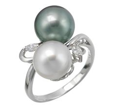 Golden South Sea Pearl & Diamond 14K White Gold Ring
