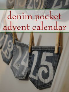 Make a homemade advent calendar with upcycled blue jeans. This unique denim pocket advent calendar is simple but super cute.
