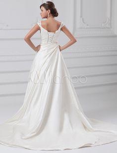 Vestido de novia marfil de tafetán con bordados-No.4