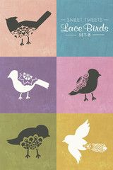 Lace Birds Wall Motif Stencil Set - Royal Design Studio Stencils
