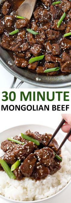 Amazing 30 Minute Mongolian Beef Tender flank steak fried and tossed in a thick Asian inspired sauce Way better than takeout Posted By Healthy Diet Recipes, Cooking Recipes, Cooking Tips, Oven Recipes, Recipies, Cooking Beef, Fondue Recipes, Kabob Recipes, Chicken Recipes