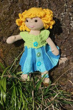 crochet doll Charlotte with flower dress pdf pattern (US) Flower Dresses, Step By Step Instructions, Crochet Hooks, I Shop, Little Girls, Crochet Patterns, Etsy, Dolls, Handmade