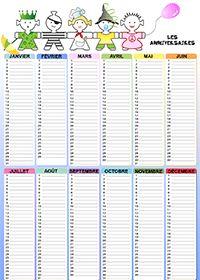 Calendrier pour dates d'anniversaires à imprimer