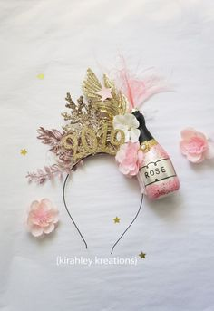 NYE 2020 2019 New Years Headband Champagne Bottle Pink Black Rose Ostrich Feathers Glitter Leaves Star Number Headpiece Fascinator Celestial New Year Headband, Diy Headband, Baby Girl Headbands, Rose Champagne, Champagne Party, Christmas Headpiece, Christmas Headbands, Felt Crown, New Year's Eve Celebrations
