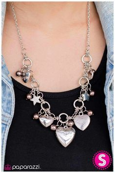 Hearts and stars necklace set with matching earrings. SHOP now online at paparazziaccessories.com/26784 Just  $5 plus tax
