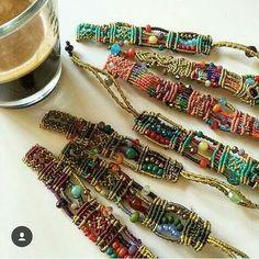 Jewelry OFF! Macrame bracelets with beads Macrame Necklace, Macrame Jewelry, Macrame Bracelets, Jewelry Crafts, Jewelry Art, Handmade Jewelry, Jewellery, Textile Jewelry, Fabric Jewelry
