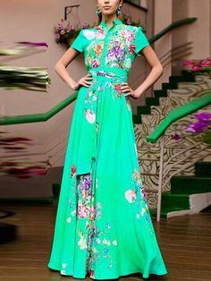 Stand Collar Floral Maxi Dress