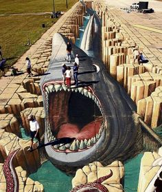 Im Guinness-Buch: Diese Straßen-Kunst ist ein Weltrekord In the Guinness Book: This Street Art is a Murals Street Art, Street Art Graffiti, 3d Street Art, Mural Art, Street Artists, Best Street Art, Amazing Street Art, Amazing Art, Illusion Kunst