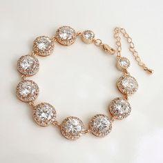 Luxury ROSE GOLD Wedding Bracelet  Wedding Jewelry Bridal Bracelet Clear Cubic Zirconia Bracelet on Etsy, $60.50