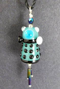 Dalek Pendant  Aqua  Hand Made Lampwork Glass by PeggySudzLampwork