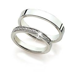 High Quality 14k White Gold His and Hers Wedding Rings 0.15 Carats 3 Mm, 4 Mm