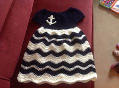 Navy girl dress, crochet