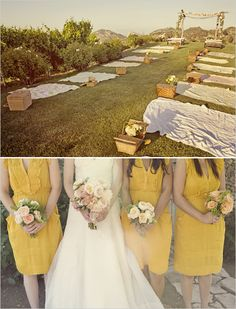 No chairs along the aisle, but picnic baskets and blankets, with pinwheels and bubbles to send them joyously on their way.