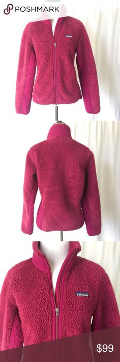 Patagonia // Retro X Fleece Jacket Warm, wind proof retro x fleece jacket in a beautiful berry color! Feminine cut. Zipper pockets. Grosgrain ribbon zipper pulls. Hip length. Good used condition, some wear on sleeve cuffs and hem, shown in photos. No holes or stains. Smoke free home 🚫trades🚫 Patagonia Jackets & Coats
