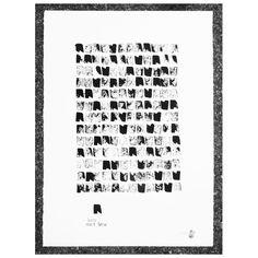 Poster Sweet Home. Estampado manual de tinta china sobre cartulina de acuarela Canson de 250 g/m2. Medidas: 50 cm x 70 cm. Artista: The Catman.  Pedido mínimo 12 unidades   Artista: The Catman