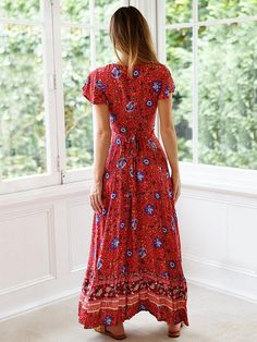 Look at this Red Floral Flutter-Sleeve Wrap Dress - Women Maxi Shirt Dress, Floral Maxi Dress, Boho Dress, Maxi Dresses, Wedding Dresses, Vacation Dresses, Summer Dresses, Boho Chic, Bohemian Style
