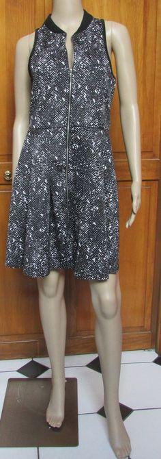 Romeo & Juliet Couture Black Cream Sleeveless Zipper Front Dress NWT Sz M  $195 #RomeoJulietCouture #Casual