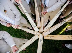 Order your Genuine Louisville Slugger Baseball Bats today!  Get way to outfit your bridal party with a customized gift!  #baseballwedding  #stwdotcom