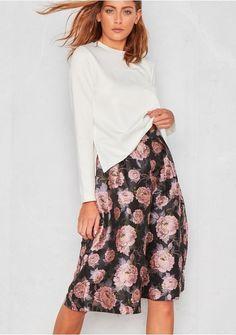 Desi Pink Floral Midi Tea Skirt Missy Empire