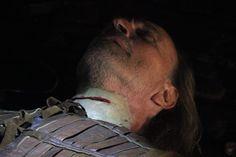 Applying prosthetic slash wound wound and putting Kryolan makeup.  Svetozar Cvetkovic