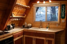 A-frame Cabin in the Woods tiny a frame cabin in the woods 0011 Tiny A frame Cabin in the Woods.tiny a frame cabin in the woods 0011 Tiny A frame Cabin in the Woods. Tiny House Talk, Tiny House Cabin, Tiny House Living, Small Cottage Kitchen, Cottage Kitchens, Small Cabin Kitchens, Quirky Kitchen, Life Kitchen, Vintage Kitchen