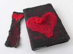 Felting cover on the notebook and bookmark with a heart |  Fair Masters - handmade, handmade