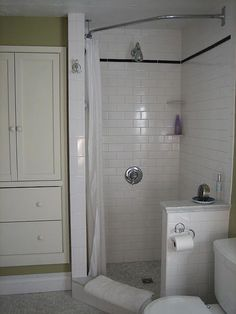 Bedroom and bathroom with come at the same time.  Loving this shower idea.