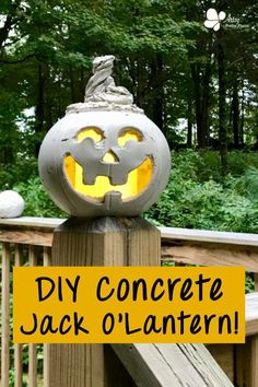 Make a lighted concrete pumpkin to decorate your patio. I've got a detailed, step by step tutorial for this fun concrete crafts project. #artsyprettyplants #halloweendecor #diycement #concrete #cementcrafts #falldecor #spooky Halloween Pumpkins, Fall Halloween, Halloween Crafts, Halloween Ideas, Halloween Entryway, Halloween Stuff, Scary Halloween, Concrete Crafts, Concrete Art